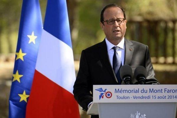 François Hollande, au Mont-Faron, à Toulon, le 15 août 2014