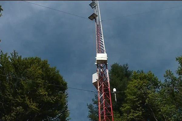 Un mat de mesure a été installé dans la forêt des Colettes dans le cadre du projet d'implantation d'une dizaine d'éoliennes.