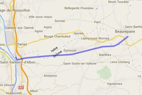 La ligne de fret ferroviaire entre Beaurepaire (Isère) et Saint-Rambert d'Albon (Drôme)
