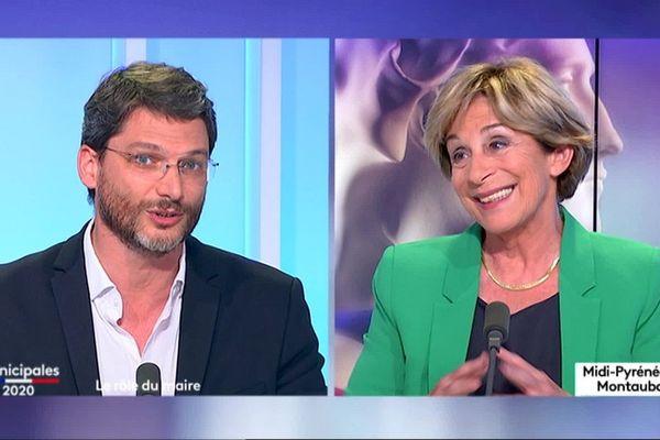 Arnaud Hillion et Brigitte Barèges sur le plateau de France 3 Occitanie, pour le débat du second tour à Montauban