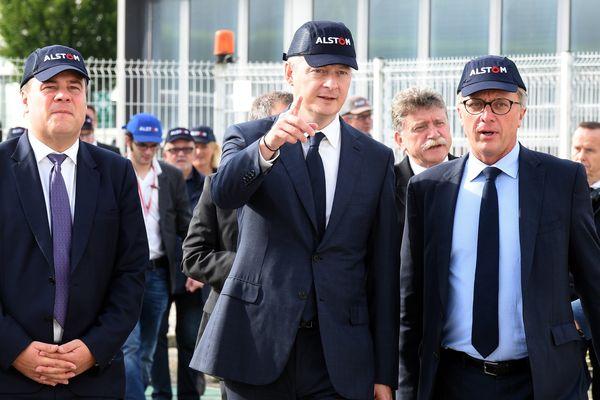Le ministre de l'Economie Bruno Le Maire en visite chez Alstom à Valenciennes le 29 septembre 2017