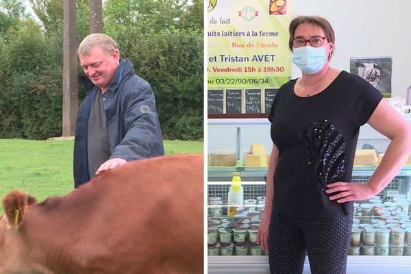 Éleveurs de vaches laitières à Éplessier (Somme), Yannick, Claire (photo) et leur fils Tristan, produisent du lait, le transforment en fromage, yaourt et beurre, puis vendent leurs produits.