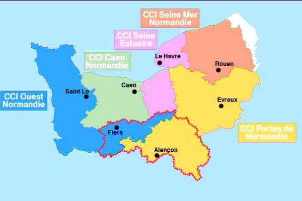 Les 5 CCI de Normandie au 1er janvier 2016.