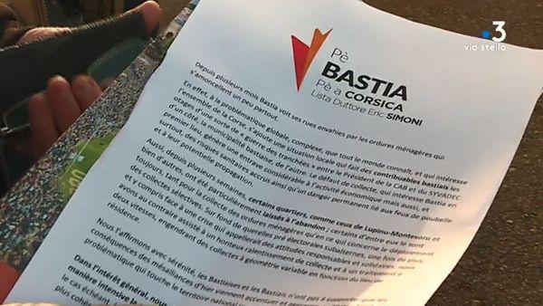 Le tract distribué par la liste Pè Bastia