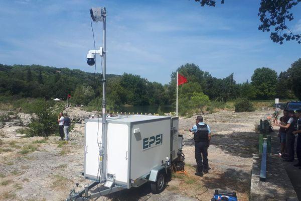 Gard : un radar anti-noyade en test pour sécuriser les Cascades du Sautadet à La Roque-sur-Cèze - août 2020.