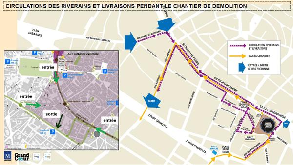 Plan de circulation des riverains et livraisons pendant le chantier de démolition des halles Laissac à Montpellier