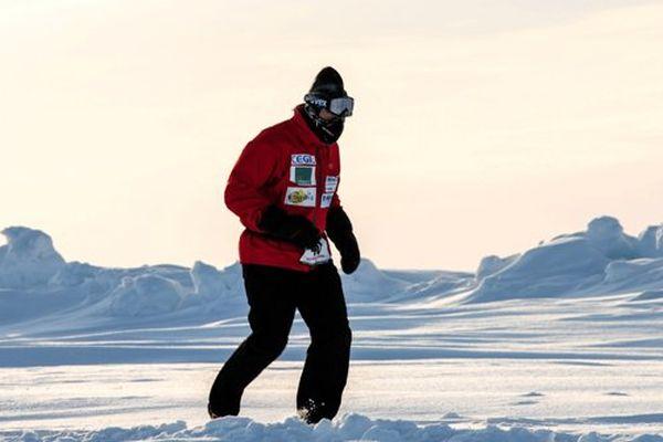 En avril 2015, au Marathon du Pôle Nord