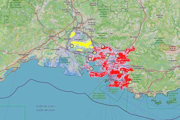 Carte d'accès aux massifs des Bouches-du-Rhône pour le 16 août