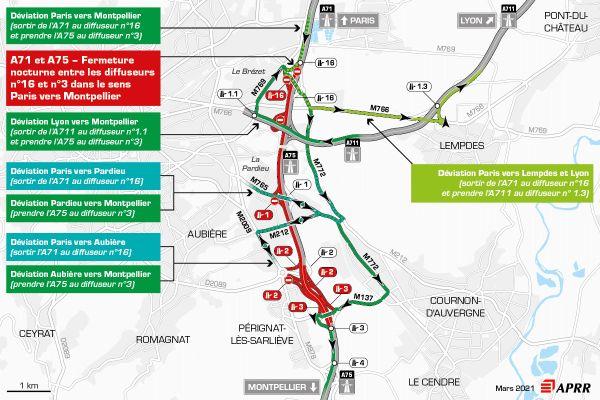 Fermetures de l'A71 et de l'A75entre diffuseurn°16 Brézet et le diffuseur n°3 Zénith dans le sens Paris vers Montpellier.
