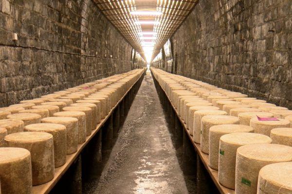L'un des deux tunnels des fromageries occitanes dans les Cantal près de Saint-Flour. Dans ces tunnels, la fromagerie affine environ 4500 fromages.
