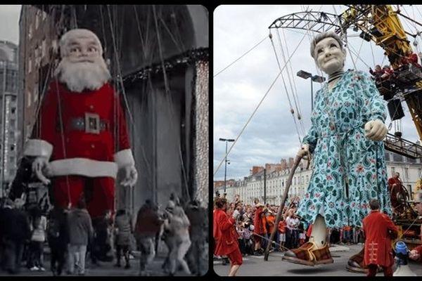 A gauche, une capture d'écran de la pub Coca-Cola et du Santa Claus de 12 mètres de haut. A droite, le dernier personnage de Royal de Luxe, la grand-mère