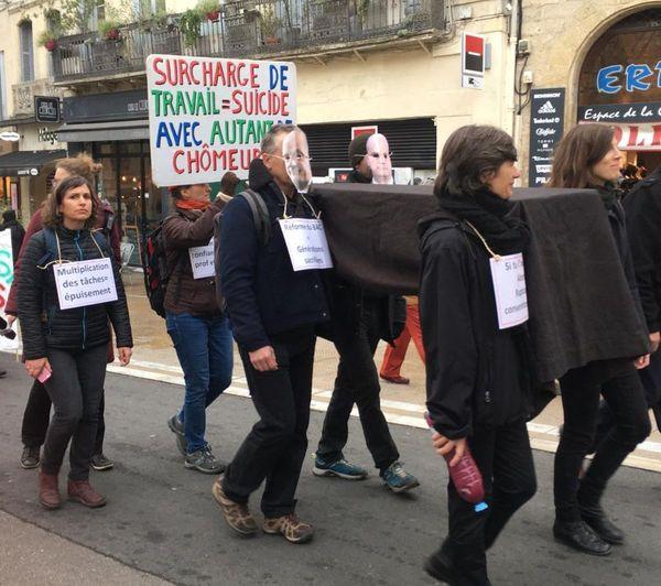 Montpellier - manifestation symbolique des enseignants - 15 janvier 2020.