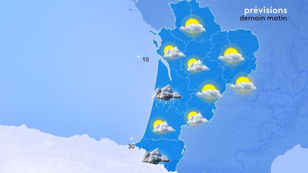 Au matin, les températures minimales seront comprises entre 12 et 16 degrés en Nouvelle-Aquitaine.