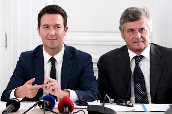 Guillaume Peltier et Nicolas Forissier lors d'une conférence de presse à Paris en septembre 2017.