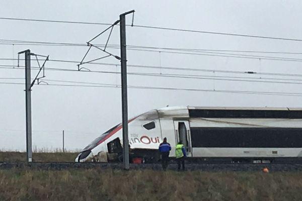 Le train accidenté le 5 mars 2020 sur la LGV Est en direction de Paris.
