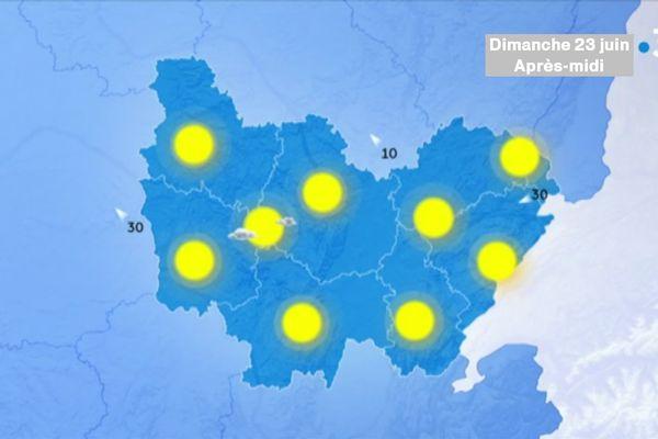 Le soleil sera omniprésent dimanche 23 juin, avec des températures élevées aux alentours de 30 degrés