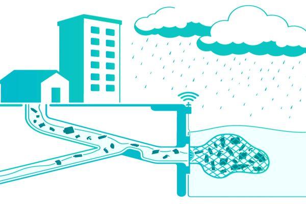 """Illustration du dispositif de retenue, baptisé """"D'Rain"""""""