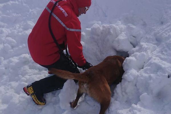 Un chien et son maître sapeur-pompier de l'Ain lors d'une recherche de victime sous une coulée de neige.