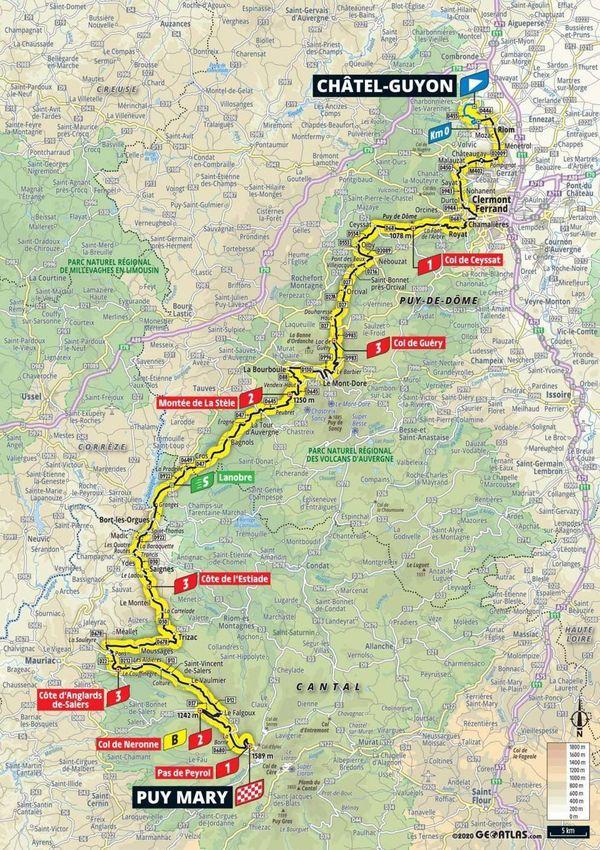 Découvrez le parcours de la 13e étape du Tour de France, vendredi 11 septembre, entre Châtel-Guyon dans le Puy-de-Dôme et le puy Mary dans le Cantal.