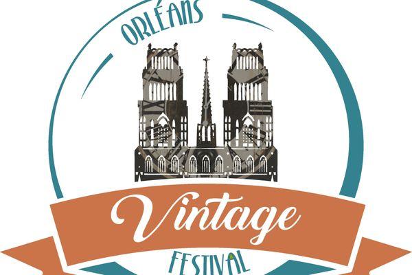 Logo représentant l'Orléans Vintage Festival avec la cathédrale Sainte-Croix.