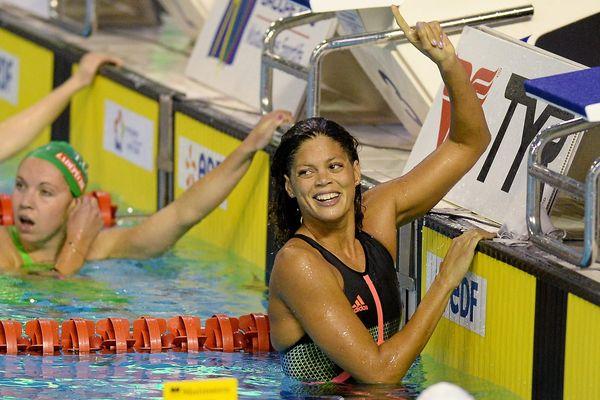 Coralie Balmy aux championnats de France de natation en 2016.