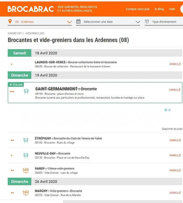 Agenda des  vide-greniers et brocantes disponibles sur le site Brocabrac