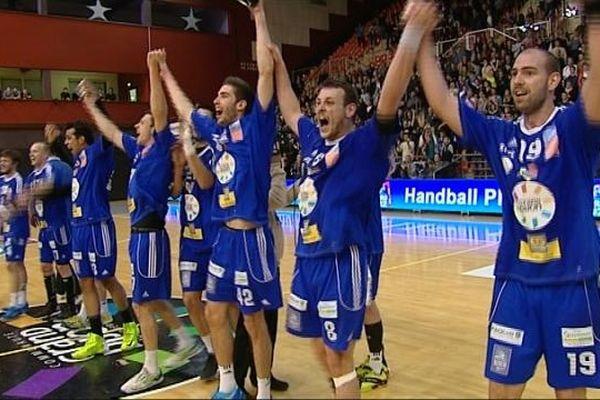 Les joueurs du DBHB ont laissé éclater leur joie à l'issue de la rencontre face à Mulhouse