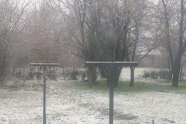 De la neige à Ecuélin, près de Maubeuge.