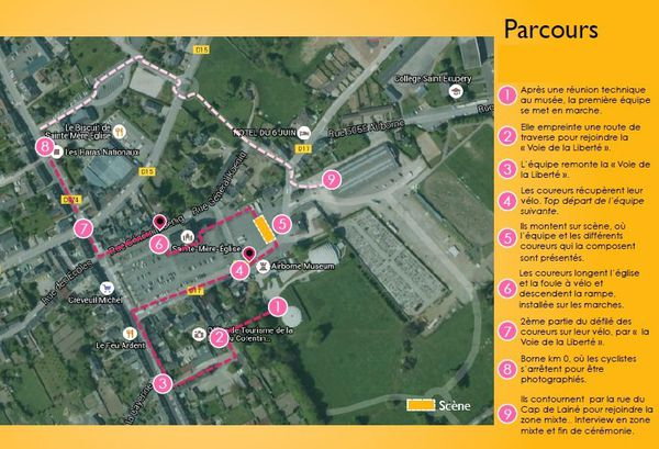 Le parcours des coureurs du Tour de France dans Saint Mère Eglise (Manche) pour la présentation officielle - 30 juin 2016