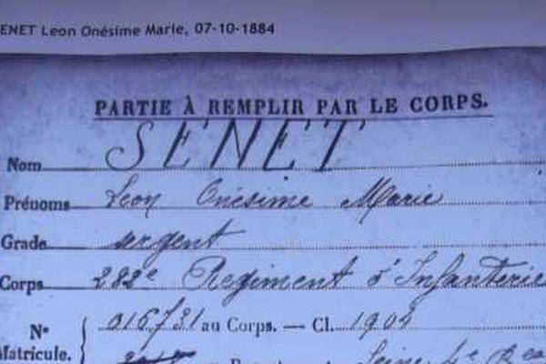 Le document de l'armée selon lequel Léon Senet est mort «Tué à l'ennemi» en 1915