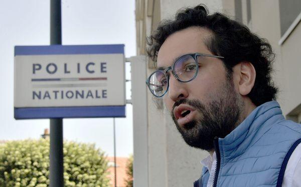 Maître Quentin Chabert, avocat du bénévole du diocèse placé en garde à vue, à la sortie du commissariat de nantes, dimanche 19 juillet 2020.