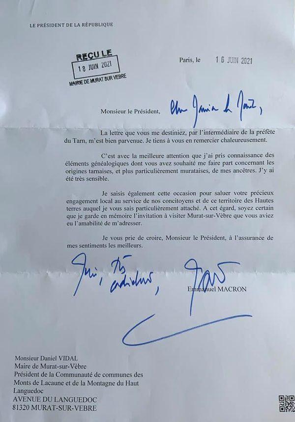 La lettre du président de la République à Daniel Vidal, maire du Murat-du-Vèbre.
