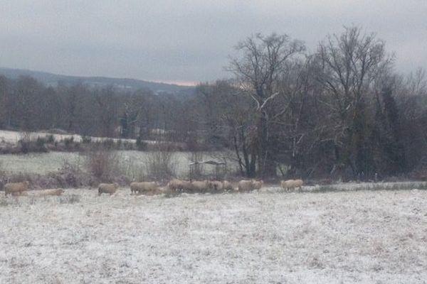 De la neige sur le nord de la Haute-Vienne, du côté de Châteauponsac