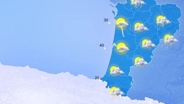 Soleil et nuages sur les départements côtiers... Pluies sur le quart nord-est... Du vent un peu plus soutenu qu'ailleurs sur le sud-Gironde et les Landes.