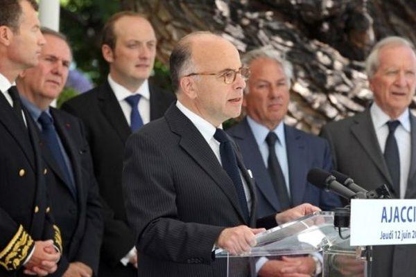 Bernard Cazeneuve, ministre de l'Intérieur, à Ajaccio en juin 2014