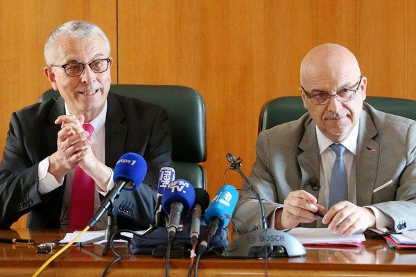 Conférence de Presse du procureur général de Monaco, Jacques Dorémieux et du directeur de la sûreté publique de Monaco, Richard Marangoni sur le braquage de la bijouterie Cartier, le 27 mars 2017.