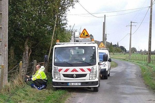 Réparation de câbles téléphoniques à Saint-Pierre des Ifs (28 octobre 2013)