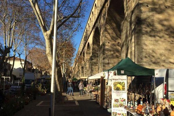 Adossé aux arceaux de l'aqueduc,le marché aux fleurs profite en ce moment du soleil de Montpellier.