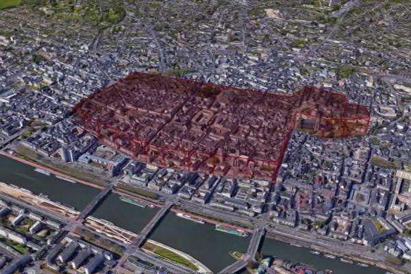 Vue aérienne des rues de Rouen interdites aux manifestants le samedi 5 et dimanche 6 décembre 2020 de 10h à 22h