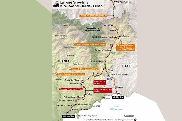 Plan de la ligne Nice/Cunéo/Vintimille.