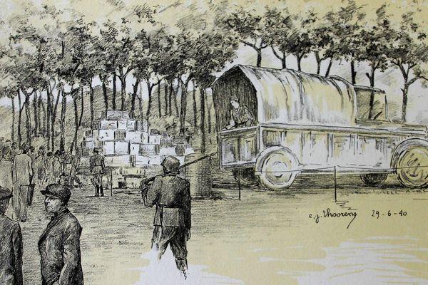 Distribution d'essence aux réfugiés. Dessin d'E. J. Thoorens.
