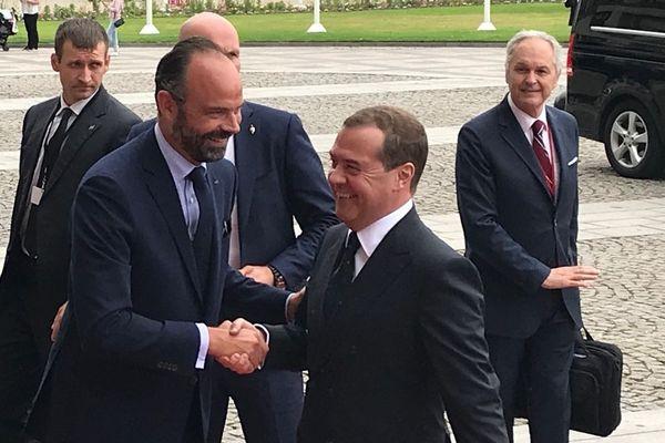 Le Havre le 24 juin 2019 : Edouard Philippe accueille Dmitri Medvedev