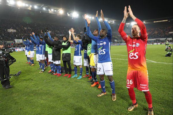 Strasbourg à la fin du match de Ligue 1 entre le Racing Club de Strasbourg Alsace et le PSG.