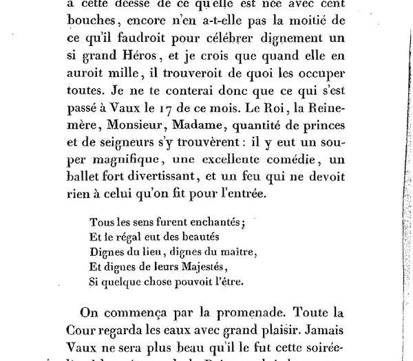 Extrait de la lettre de Jean de la Fontaine à son ami François de Maucroix, dans laquelle il raconte la réception de Vaux du 17 août 1661.