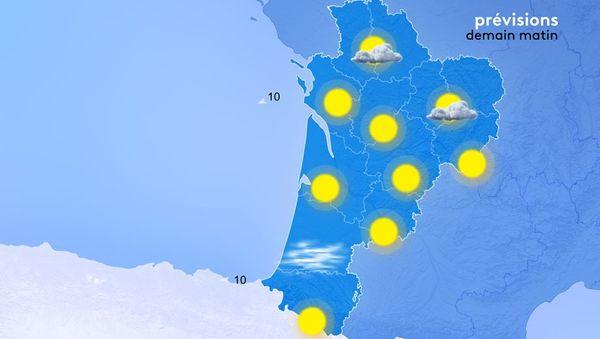 Grâce au vent, la masse d'air s'assèche. Demain, les brumes et brouillards seront donc rares au lever du jour sur une grande partie sud de la Nouvelle-Aquitaine.