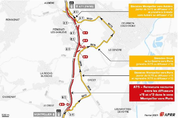 La circulation sera déviée sur l'A75 la nuit du 8 février près de Clermont-Ferrand.