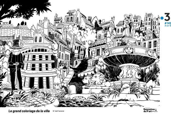 """Pour le """"Festival à la Maison"""", l'auteur Saïd Sassine a imaginé un grand coloriage qui met en scène la ville d'Aix-en-Provence sous l'oeil bienveillant de Paul Cézanne"""