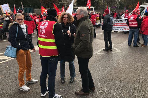 manifestation contre les retraites à Epinal, mardi 10 décembre 2019.