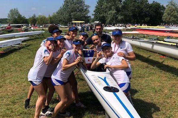 """Les rémoises, championnes de France d'aviron en """"8 de pointe"""""""