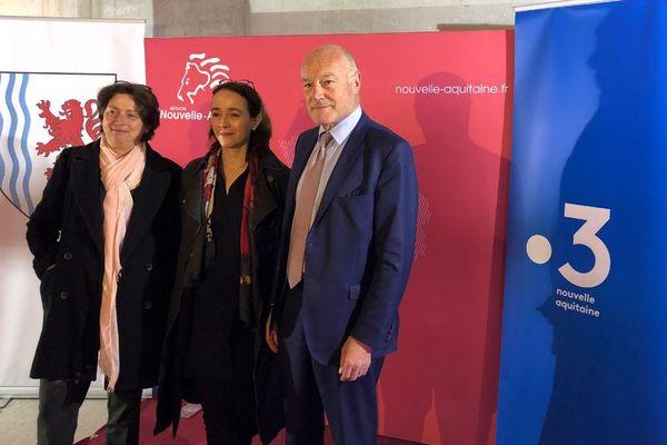 Laurence Mayerfeld (Directrice de France 3 Nouvelle-Aquitaine) Delphine Ernotte (Présidente de France Télévisions) Alain Rousset ( Président de la Région Nouvelle-Aquitaine)